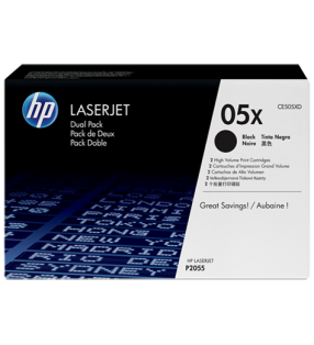 HP 05X BLACK DUAL TONER PACK 2X 6500 PAGE YIELD FOR LJ P2055
