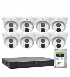 UNIVIEW RESTAURANT PACK - 8 x 5MP FIXED TURRET DOME  8CH NVR WITH 4TB HDD